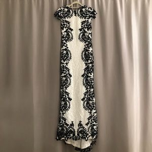 Tadashi Shoji Black and White Lace Gown